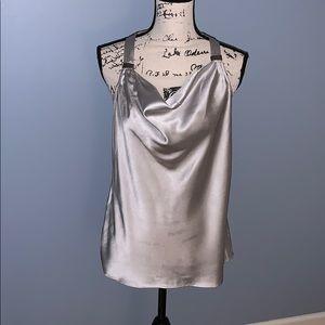 CACHE silk silver tank medium